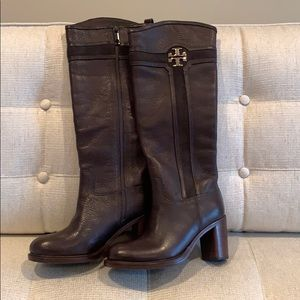 Tory Burch Tall Leather and Suede Boot